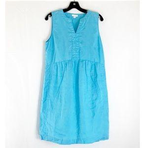 J. Jill Love Linen Blue Shift Sleeveless Dress